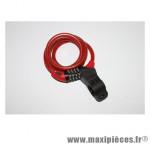 Antivol vélo spiral a combinaison diam 10mm l 1,80m rouge avec support marque Squire - Accessoire Vélo