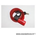 Antivol vélo spiral a clé diamètre 10mm l 1,80m rouge avec support marque Squire - Accessoire Vélo