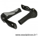 Poignee VTT hafny noir/gris avec embout de cintre integre 130mm (paire) - Accessoire Vélo Pas Cher
