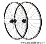 Roues VTT 29 pouces combo noir œillet (utilisation v-brake ou disc) moy shimano m475 disc 10/9v marque Vélox - Pièce Vélo