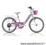 Vélo city bike 20 candy acier fille 6v blanc t28 (shimano ty-21) marque Jumpertrek - Vélo - Vélo de Ville complet