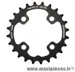 Plateau 24 dents VTT double d.64 2x10 int noir 4 branches 10v. (pour ext 38 dents) non filete marque Stronglight - Pièce Vélo