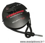 Antivol vélo cable a boucle pour fer a cheval rs350 noir 1.80m diam 10mm marque Trelock - Accessoire Vélo