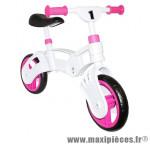 Draisienne 10 pouces fille rose/blanche - Accessoire Vélo Pas Cher - Draisienne pour enfant