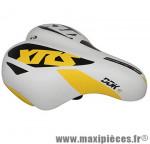 Selle enfant xrs blanc deco jaune/noir 203x145mm rail acier noir marque DDK - Accessoire Vélo