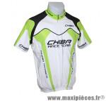 Déstockage ! Maillot de vélo manches courtes taille L Chiba Cross II blanc/noir/vert