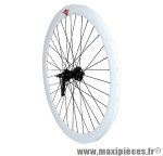 Roue route / fixie 43mm blanc arrière rétropédalage - Accessoire Vélo Pas Cher