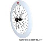 Roue route / fixie 70mm blanc arrière double filetage - Accessoire Vélo Pas Cher