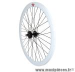 Roue route / fixie 43mm blanc arrière double filetage - Accessoire Vélo Pas Cher