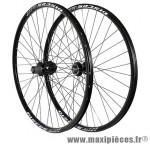 Roues VTT 27.5 pouces disc noir double paroi moyeu disc 6trous cassette 10/9/8v ray noirs (avant+arrière) - Accessoire Vélo Pas Cher