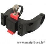 Fixation de panier avant VAE (vélo électrique) sur cintre diam 22-26mm +31.8mm (avec antivol) marque Klickfix - Accessoire Vélo