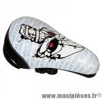 Selle BMX noir tête de mort-yeux rouge 230x145mm - Accessoire Vélo Pas Cher