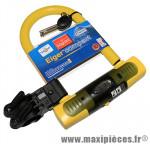 Antivol vélo u eiger compact jaune a clé 145x83mm d 15,6mm avec support marque Squire - Accessoire Vélo