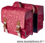 Sacoche arrière city bohème rouge (35 litres) fixation crochet/ressort (28x10x23 cm) marque Basil - Matériel pour Cycle