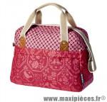 Sac city bohème rouge (18 litres) fixation hook-on sur porte bagage avant/arrière (41x16x29 cm) marque Basil - Matériel pour Cycle