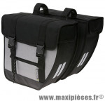 Sacoche arrière city tour noir/argent (40 litres) fixation crochet/ressort (34x17x34 cm) marque Basil - Matériel pour Cycle