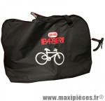 Housse de transport vélo toile noir avec 2 poches pour roues (lg140xl28xh100) - Accessoire Vélo Pas Cher