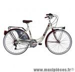 Vélo city bike 26 liberty acier femme 6v crème/rouge fonce (taille 44) marque Cinzia - Vélo de Ville complet