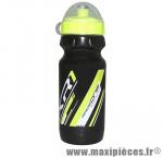 Bidon xr1 noir bouchon et deco jaune fluo 600ml biodégradable marque Race One - Accessoire Vélo