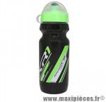 Bidon xr1 noir bouchon et deco vert 600ml biodégradable marque Race One - Accessoire Vélo