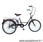 Tricycle adulte 24 pouces noir 5 vitesses avec panier poids total maxi 100kgs empattement 0,80m - homologation nf30020-