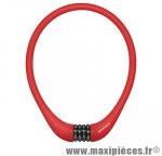 Antivol vélo Câble a combinaison silicone rouge diam 15mm l75cm (protège la peinture des chocs) - Pièces Vélo Newton