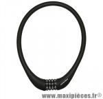 Antivol vélo Câble a combinaison silicone noir diam 15mm l75cm (protège la peinture des chocs) - Pièces Vélo Newton