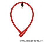Antivol vélo Câble a clé silicone rouge diam 12mm l75cm (protège la peinture des chocs) - Pièces Vélo Newton