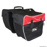 Sacoche arrière vélo double amsterdam noir-rouge renforcé 34x17x30cm (30 litres) (vendu par 2)
