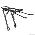Porte bagage vélo arrière a tringles fixation sur haubans alu noir réglable 20 à 29 pouces (surface plateforme 39x14cm)