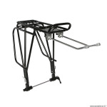 Porte bagage vélo arrière a tringles alu noir réglable 29-28-27.5-26 pouces fixation sur moyeu axe creux et pour frein a disque (entraxe 130-135mm)