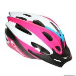 Casque vélo pour enfant taille 47-53 marque GES apache rose-noir-blanc avec visière et system quick lock