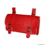 Sacoche de selle vélo style vintage classic simili cuir couleur rouge marque Vélox