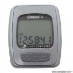 Compteur vélo union 5n gris (5 fonctions)