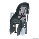 Porte bébé-siège enfant arrière à fixer sur porte bagage fixation etau guppy max gris fonce coussin gris (9 à 22kgs) pour vae (largeur porte bagage 185mm) marque Polisport