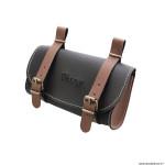 Sacoche de selle vélo style vintage classic simili cuir couleur noir-marron marque Vélox