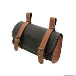 Sacoche de selle vélo style vintage classic simili cuir couleur noir-caramel marque Vélox