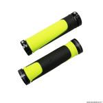 Paire de poignées vélo VTT 997 double densité open end avec lock on noir-jaune 130mm marque Progrip
