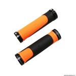 Paire de poignées vélo VTT 997 double densité open end avec lock on noir-orange 130mm marque Progrip