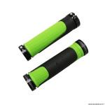 Paire de poignées vélo VTT 997 double densité open end avec lock on noir-vert 130mm marque Progrip