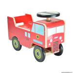 Jouet bois camion pompier rouge marque Kiddimoto