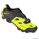 Paire de chaussures VTT taille 42 marque GES mountracer couleur jaune fluo-noir fixation boa-velcro pour spd