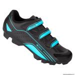 Paire de chaussures VTT taille 42 marque GES vantage couleur noir-bleu sky fixation 3 velcros pour spd