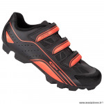 Paire de chaussures VTT taille 41 marque GES vantage couleur noir-orange fixation 3 velcros pour spd