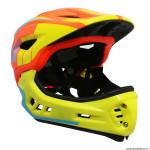 Casque intégral vélo BMX taille 53-58cm couleur orange-jaune-bleu avec mentonnière détachable - conforme EN078