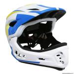 Casque intégral vélo BMX taille 53-58cm couleur jaune-bleu-blanc avec mentonnière détachable - conforme EN078