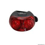 Eclairage vélo usb arrière sur tige de selle spanninga jet noir 2 leds rouge 20 lumens visible à 400m