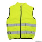 Gilet de sécurité premium adulte couleur jaune réfléchissant avec zip total et poche arrière zip