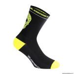 Paire de socquettes été taille 36-39 motif crane couleur noir-jaune fluo antibacterien - hauteur 18cm