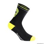 Paire de socquettes été taille 40-43 motif crane couleur noir-jaune fluo antibacterien - hauteur 18cm